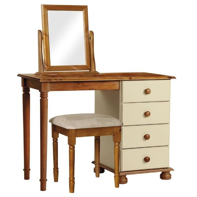 Single Dressing Table Set in Cream and Pine